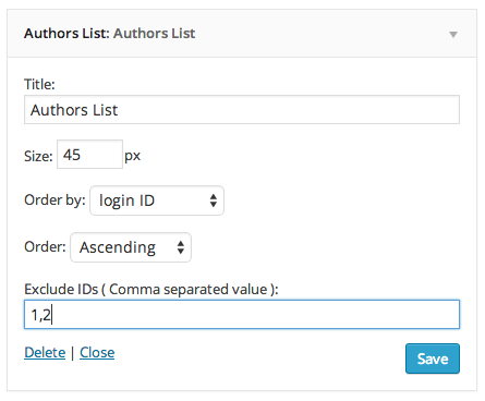 Authors List ウィジェット